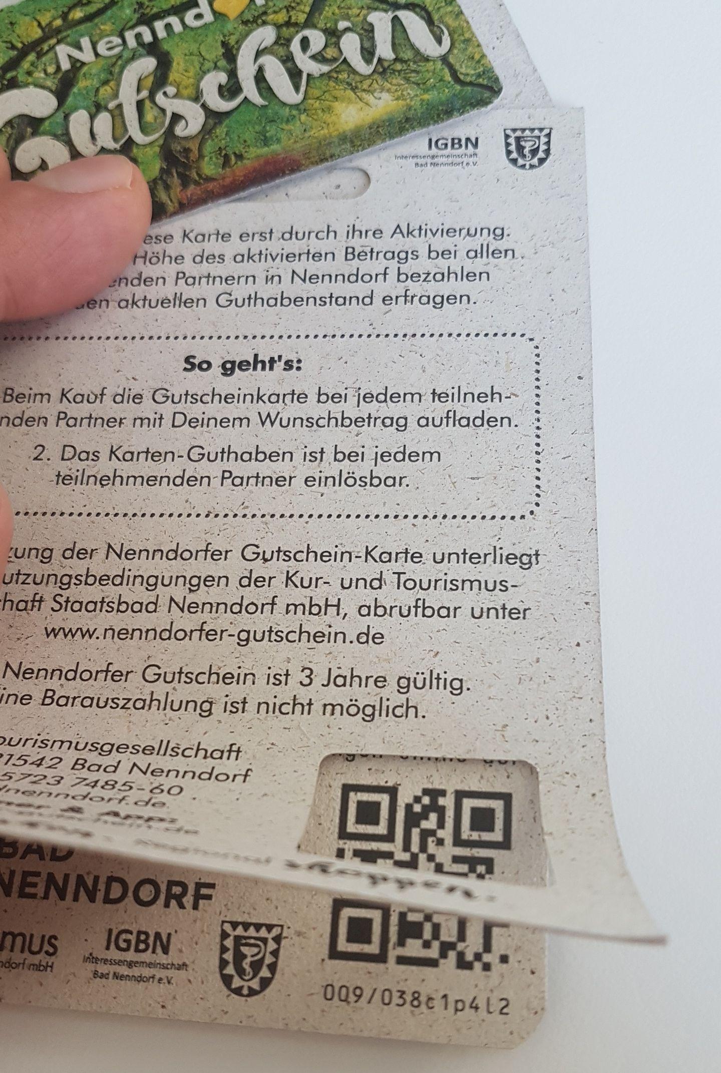 QR Code auf dem Nenndorfer Gutschein